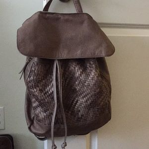 Gray Leather Woven Backpack